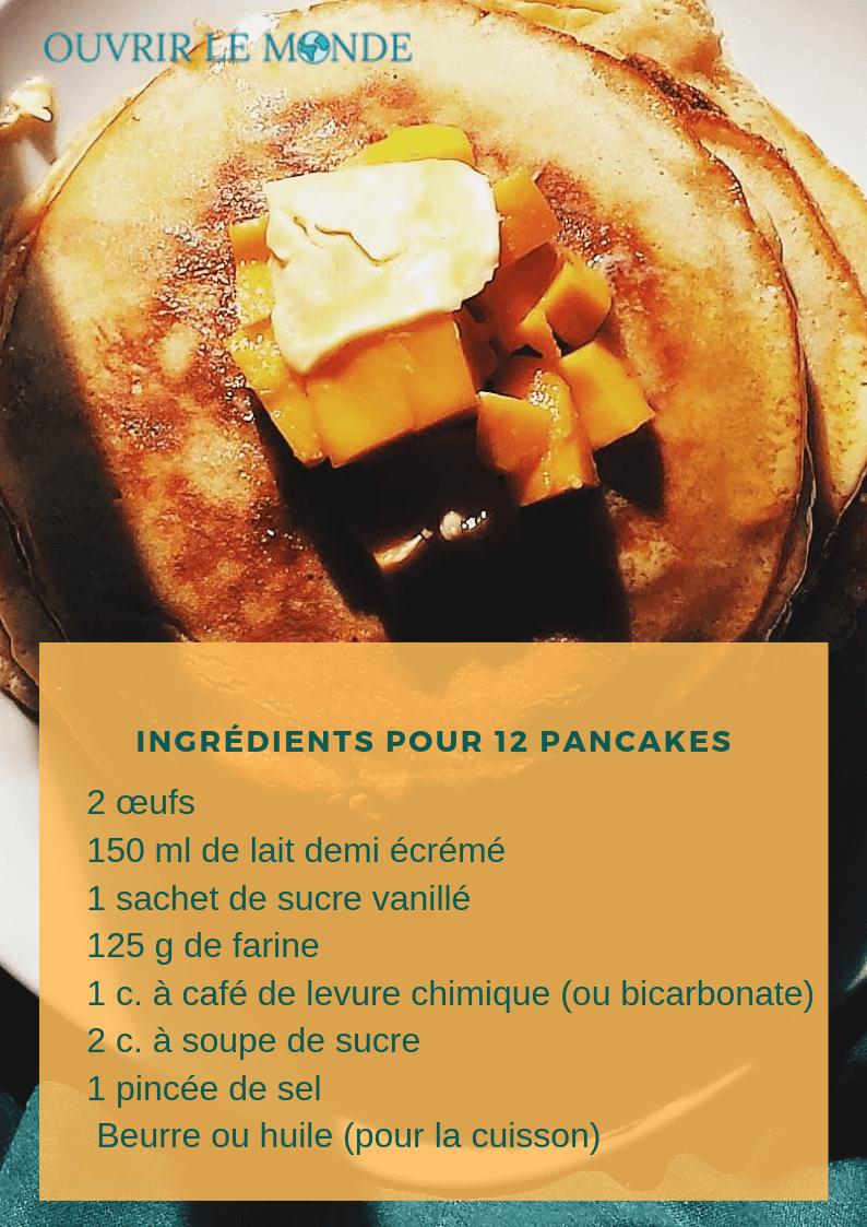 Ingrédients pour faire des pancakes