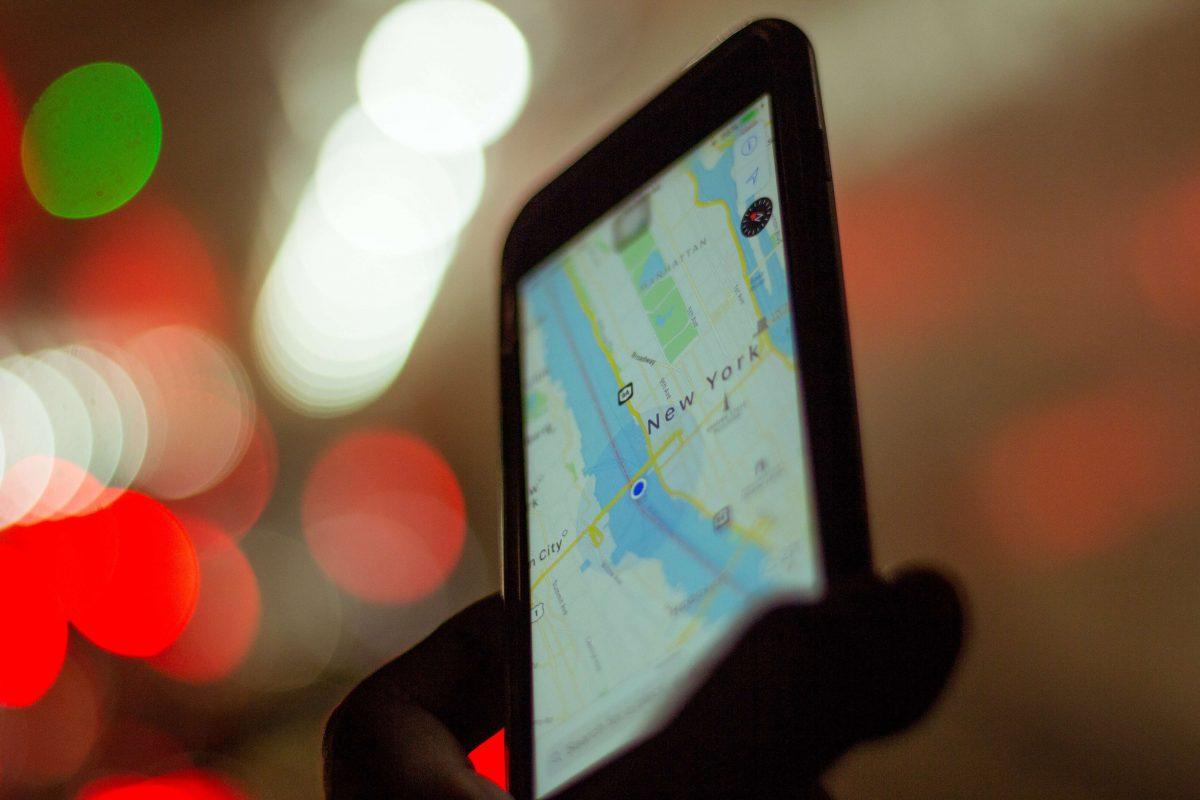 GPS sur un écran de téléphone