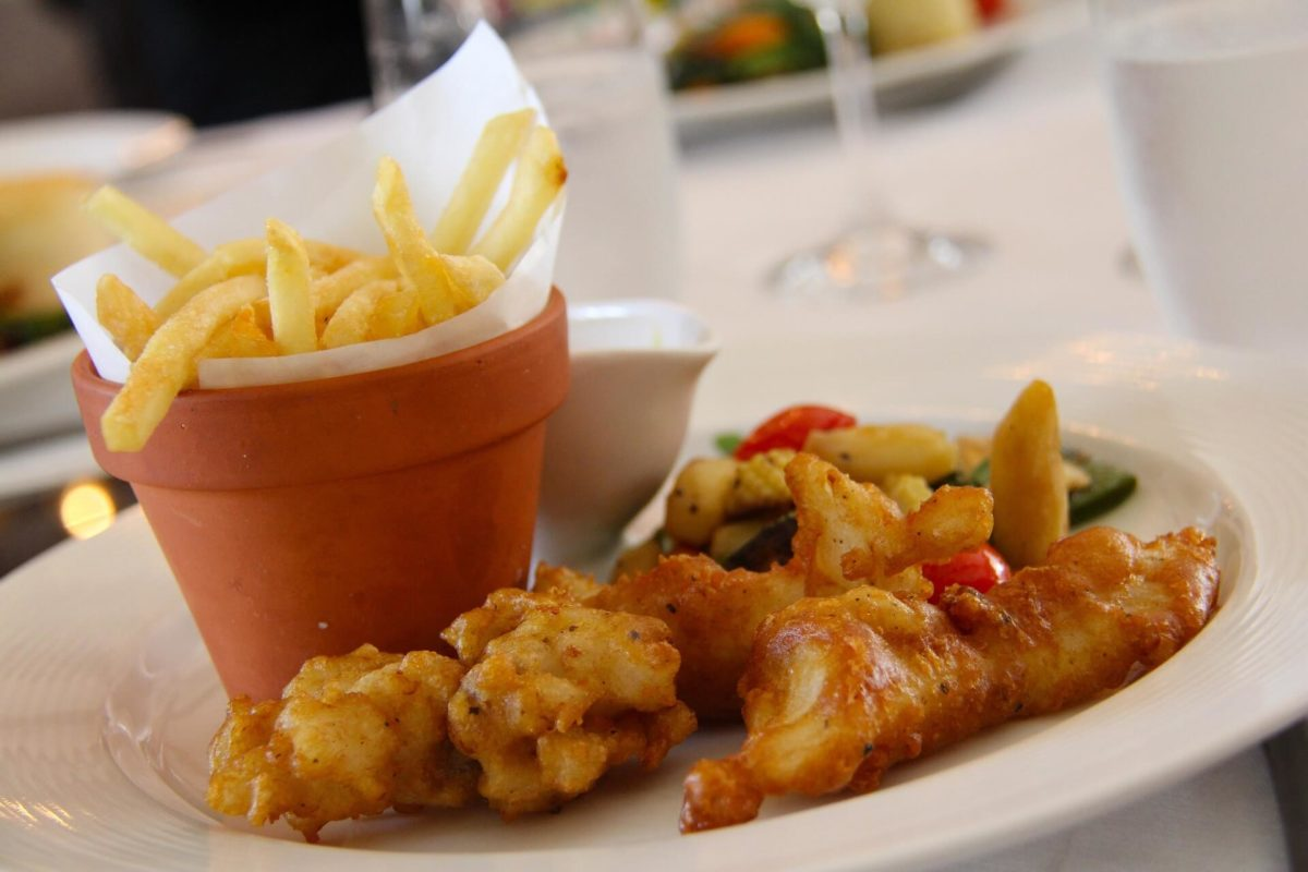 Fish and chips au restaurant